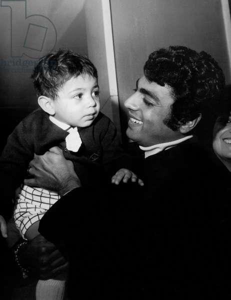 Singer Enrico Macias With his Son Jean-Claude April 1St, 1969 (b/w photo)