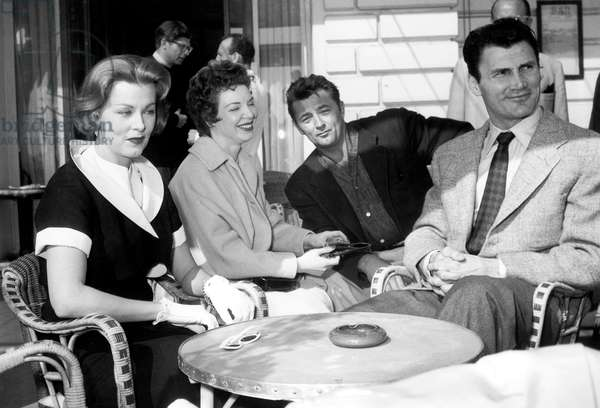 Arlene Dahl, Jack Palance and Robert Mitchum at Cannes Film Festival March 30, 1954 (b/w photo)