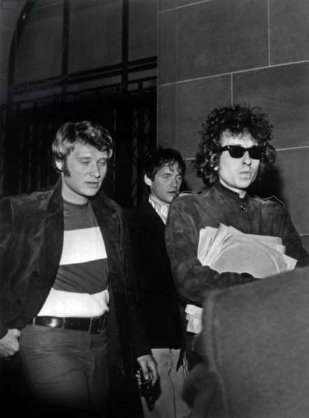 Johnny Hallyday Received The Visit of Bob Dylan (Wearing Ray Ban Sunglasses)In his Appartment. Neuilly-Sur-Seine, May 24, 1966. (b/w photo)