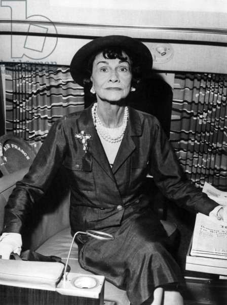 Coco Chanel in the USA, 1957 (b/w photo)