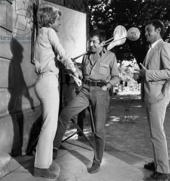"""Marie Dubois and Serge Gainsbourg Directed By Director Jacques Poitrenaud on Set of Film """"Jericho"""" in Bonnieux, France, September 11, 1967 (b/w photo)"""