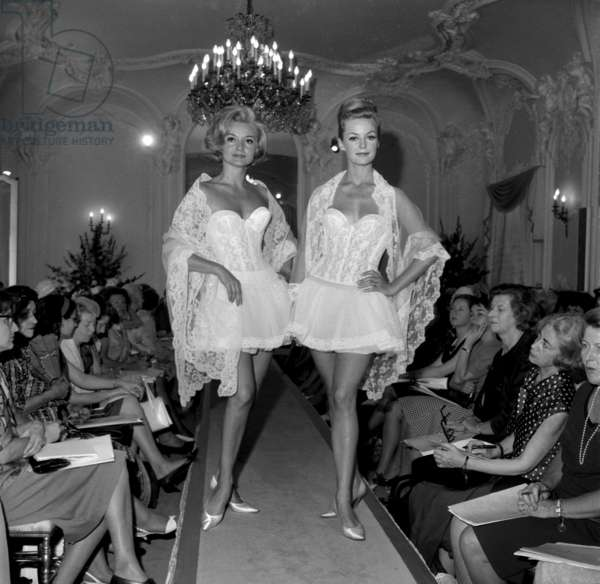 Corset And Peticoat Triumph Present In Her Parisian Salons On July 25, 1962 Neg: B47160 (b/w photo)