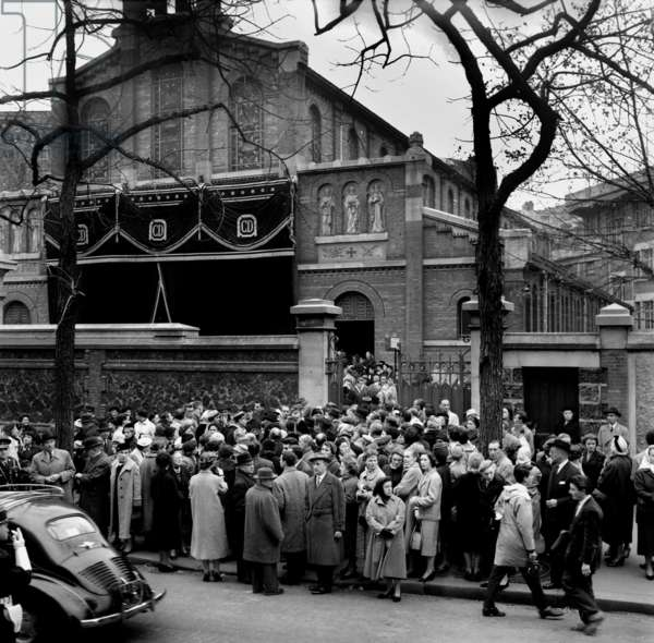 The Funeral of Christian Dior Celebrated at The Church Saint Honore of Eylau October, 29 1957 (b/w photo)