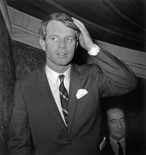 American Senator Robert (Bobby) Kennedy With Robert Mitterrand in Paris January 30, 1967 (b/w photo)