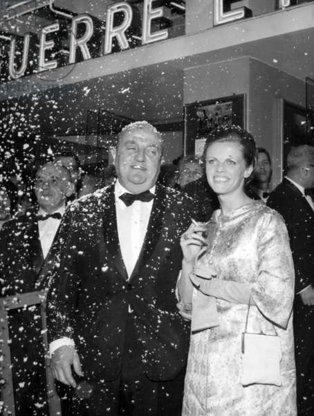 Bernard Blier and his 2Nd Wife Annette Martin at Premiere of Film Guerre Et Paix in Paris on April 27, 1966 (b/w photo)