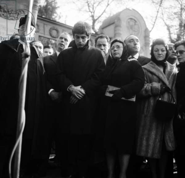 Funerals of Edith Piaf in Paris, October 14Th, 1963, With Greek Singer Theo Sarapo (1936-1970) and Daniele Bonel (Friend of Edith Piaf). (b/w photo)