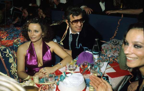 French Actor Jean-Paul Belmondo With his Grilfriend Laura Antonelli at New Year'S Eve Party in Famous Parisian Cabaret December 31, 1975 (photo)