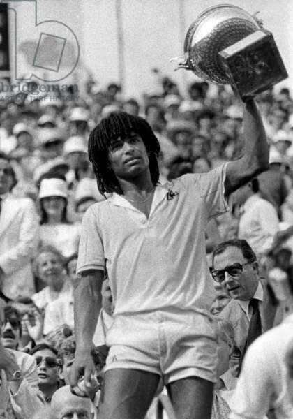 French Tennisman Yannick Noah Has Just Won Roland Garros French Open in Paris June 6, 1983 (b/w photo)