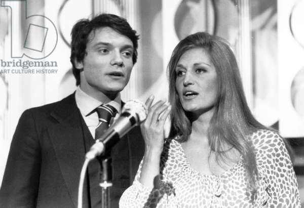 Dalida and Massimo Ranieri during Recording of TV Programme April 30, 1971 (b/w photo)