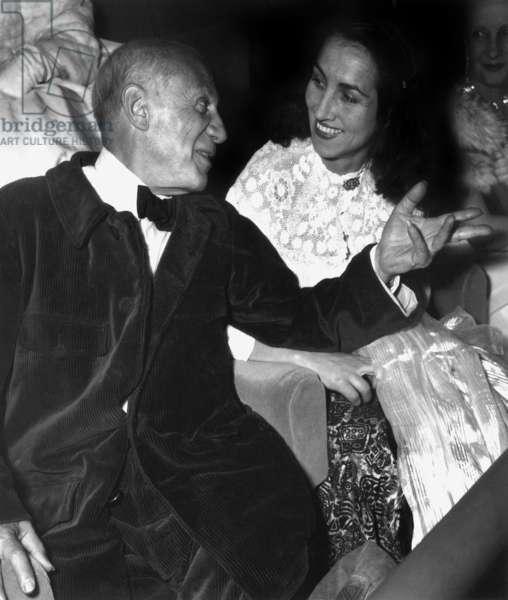 Pablo Picasso and his Companion Francoise Gilot at Cannes Festival April 16, 1953 (b/w photo)