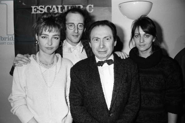 "The Cinema Award Of L'Academie Francaise Awarded Jean Charles Tachella For His Film ""Staircase C. De G A D Catherine Frot, Gilles Gaston Dreyfus, Jean Charles Tachella And Catherine Leprince, January 10, 1986 Negcx18374 (b/w photo)"