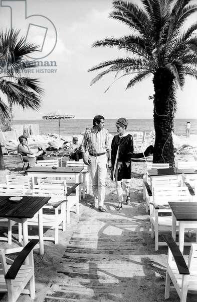 Roger Vadim with his wife, Jane Fonda, Saint Tropez, 1964 (photo)