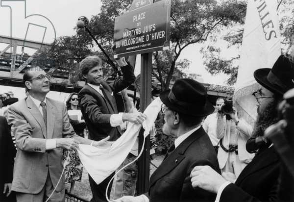 Jacques Chirac, French Prime Minister and Mayor of Paris, Unveiling A Plate Commemorating The Vel' D'Hiv Roundup, Paris, July 18, 1986 (b/w photo)