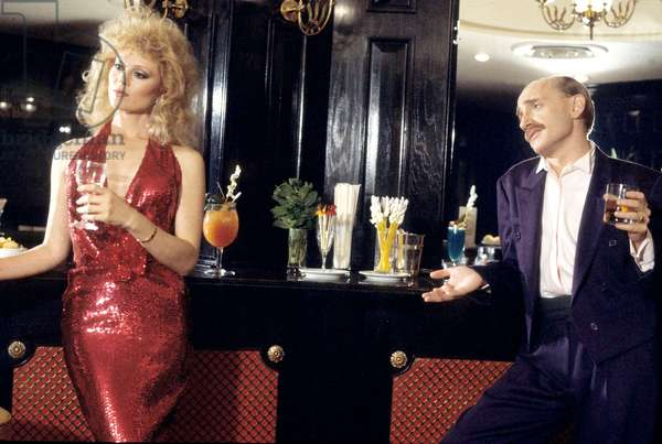 Actors Audrey Landers and Michel Blanc during TV Programme on December 1985 (photo)