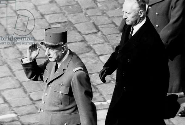 French President Charles De Gaulle during Military Parade and Decorations Giving in Paris March 22, 1969 (b/w photo)
