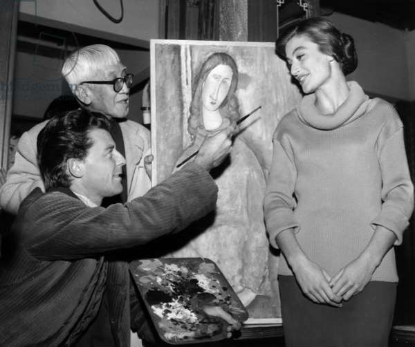 Gerard Philipe (As Amedeo Modigliani) With Anouk Aimee and Painter Foujita on Set of Film