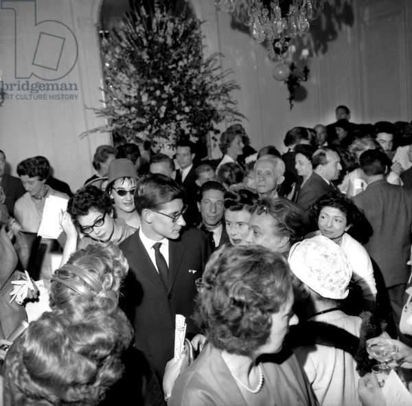 Presentation Of The Maison Dior Winter Collection In Paris Here At The Centre Le Couturier Yves Saint Laurent July 31, 1958 (b/w photo)