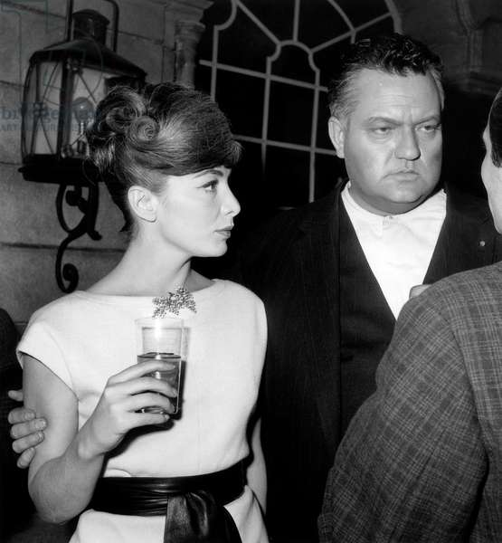 French Actress Juliette Greco and Actor Orson Welles on Set of Film Crack in The Mirror November 24, 1959 (b/w photo)