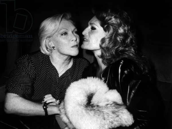 Line Renaud and Dalida at Premiere of Concert of Gerardlenorman in Paris, December 22, 1983 (b/w photo)