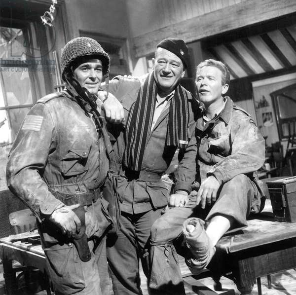 John Wayne and Red Buttons on Set of Film The Longest Day 1962  (b/w photo)