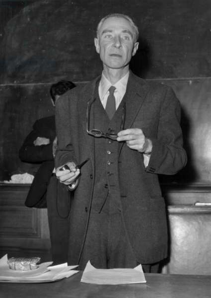 Robert Oppenheimer at a Press Conference at the Sorbonne University in 1958 (b/w photo)