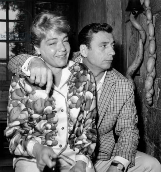 Simone Signoret and Yves Montand in Holidays in Saint-Paul-De-Vence (South of France) May 8, 1961 (b/w photo)