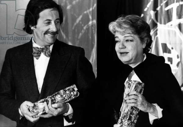 Actors Jean Rochefort and Simone Signoret Received French Movie Prize February 6, 1978 (b/w photo)