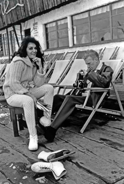 Dalida and her Husband Lucien Morisse on Deckchairs at Winter Sports March 5, 1960 (b/w photo)