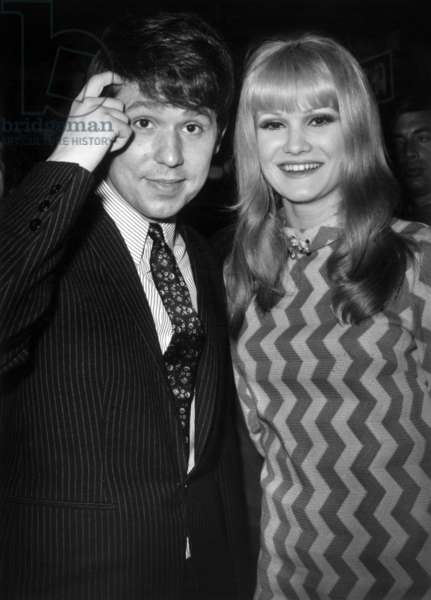 Spanish Singer Raphael In The Company Of Laura Ulmer At The Olympia Academy At The Meeting Before Participating In The Palmares Of Songs On April 6, 1967 (b/w photo)
