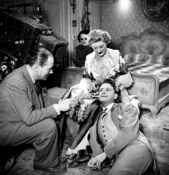 Director Pierre Billon With Actors Jean Desailly and Marcelle Chantal on Set of Film Cheri, 1950 (b/w photo)