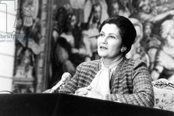 Simone Veil (Minister of Health) during A Press Conference at Elysee Palace in Paris About Family, March 9, 1977 (b/w photo)
