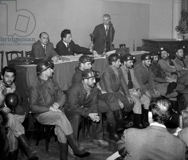 Decazeville strike (strike of miners, Aveyron, France) here during a press conference in Paris, January 3, 1962 (b/w photo)