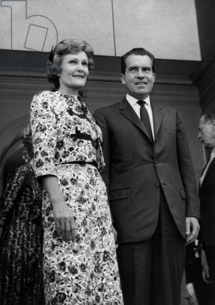 Richard Nixon, Former Vice President of Usa and his Wife Patricia Thelma Nixon, Leaving The Elysee Palace in Paris After A Discussion With Charlesdegaulle, July 30, 1963 (b/w photo)