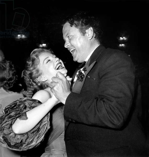 Orson Welles and Anne Baxter Dancing at Cannes Film Festival April 16, 1953 (b/w photo)