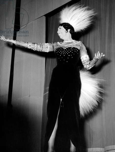 Josephine Baker on Stage at Olympia April 05, 1968 (b/w photo)