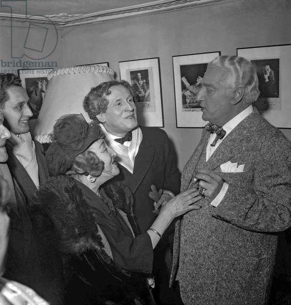 "Premiere of play ""Tu m'as sauve la vie"" at the Theatre des Varietes, Paris, December 15, 1949 : Rosemonde Gerard, Maurice Rostand, Sacha Guitry (b/w photo)"