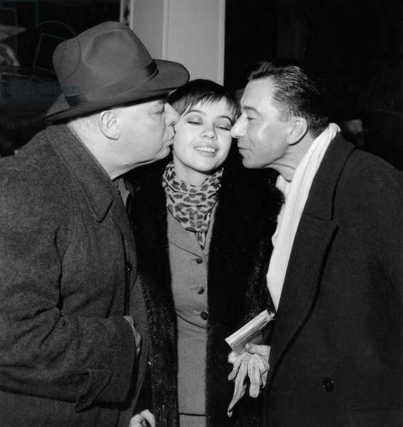 Jean Renoir, Leslie Caron and Paul Meurisse at Orly Airport January 24, 1955 (b/w photo)