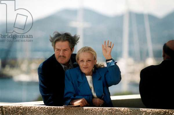 Marcello Mastroianni and Jeanne Moreau at Cannes Festival, May 1991 (photo)