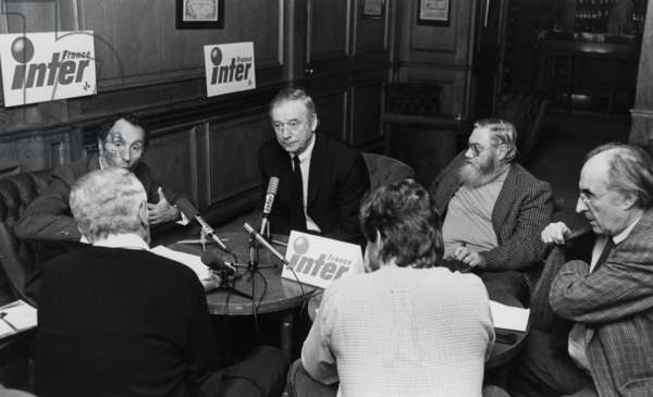 Yves Montand during A Radioprogram in France Inter (b/w photo)