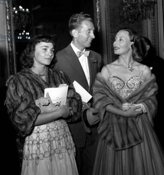 Charles Trenet With Danielle Delorme and Michele Morgan June 17, 1950 (b/w photo)