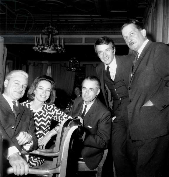 Rene Clement, Leslie Caron, Jacques Chaban-Delmas and Jean Pierre Cassel on October 13, 1966 For Film Is Paris Burning ? (b/w photo)