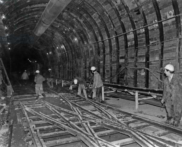 Building of Channel Tunnel, January 1975 (Canceled) (b/w photo)