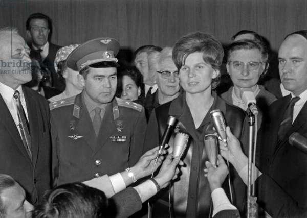 Soviet Cosmonauts Valentina Tereshkova and her Husband Andrian Nikolaiev (Uniform) in Paris : here Arriving at Bourget Airport on May 10, 1965, Speaking With Journalists in Presence of Valerian Zorine (L) Soviet Ambassador in Paris (b/w photo)
