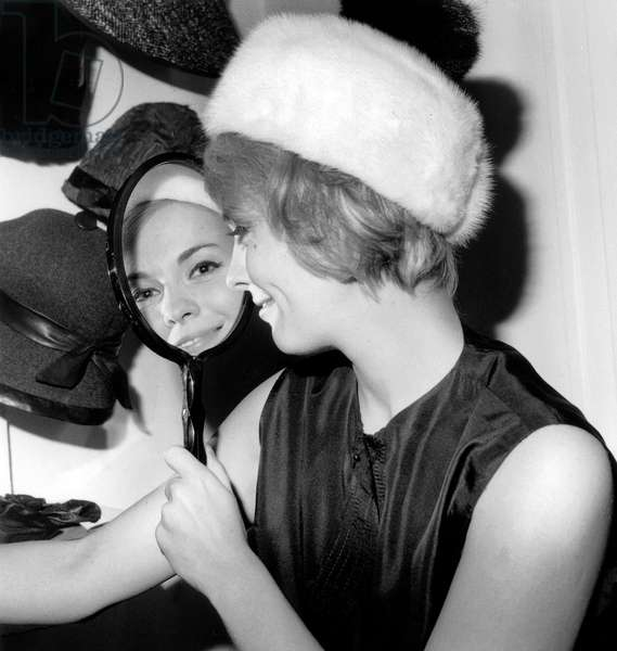 Actress Jean Seberg Trying Hats in Jean Barthet'S Salon December 15, 1962  (b/w photo)