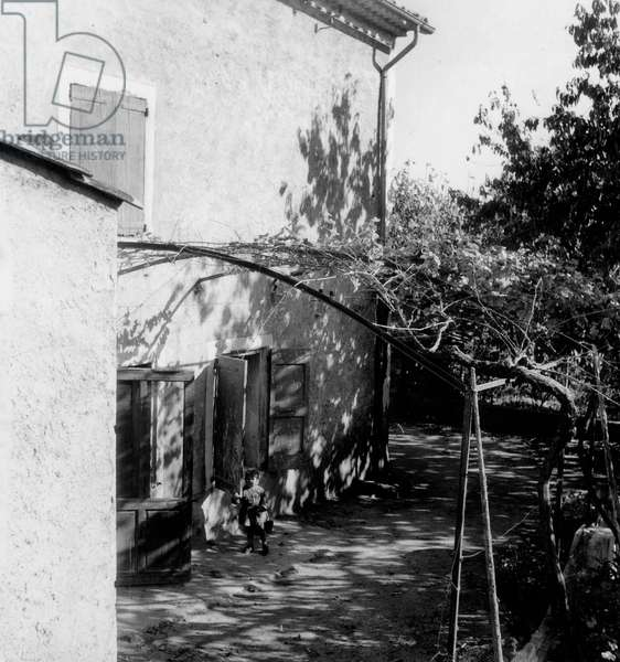 Dominici Affair : Reconstruction November 17, 1953 at The Farm of La Grand'Terre in Lurs South East of France By Which The Triple Murder Occured August 1952 Justice (b/w photo)