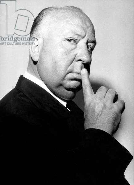 Director Alfred Hitchcock (1899-1980) in 1960 (b/w photo)