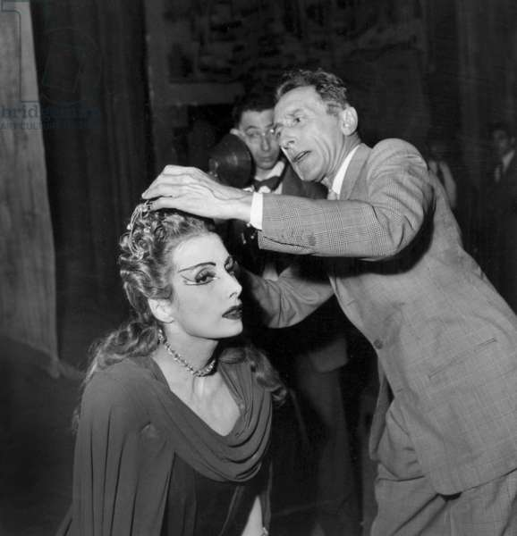 "Last Rehearsal of Ballet ""Phedre"" June 14, 1950 : Jean Cocteau Checking Headgear of Tamara Toumanova (b/w photo)"