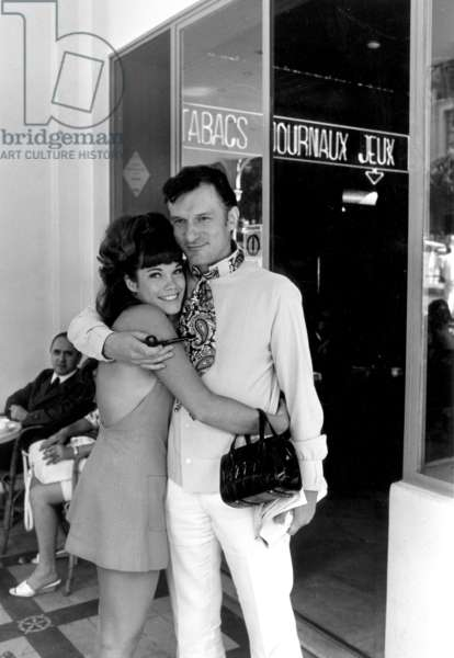 Hugh Hefner and his Fiancee American Actress Barbara Benton on Holidays in Monaco, on August 28, 1969 (b/w photo)