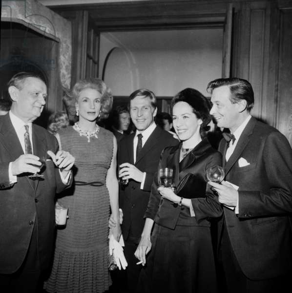 Georges Auric, Mrs Harkness, Erik Bruhn, Marjorie Tallchief and Georges Skibine March 3, 1965 (b/w photo)