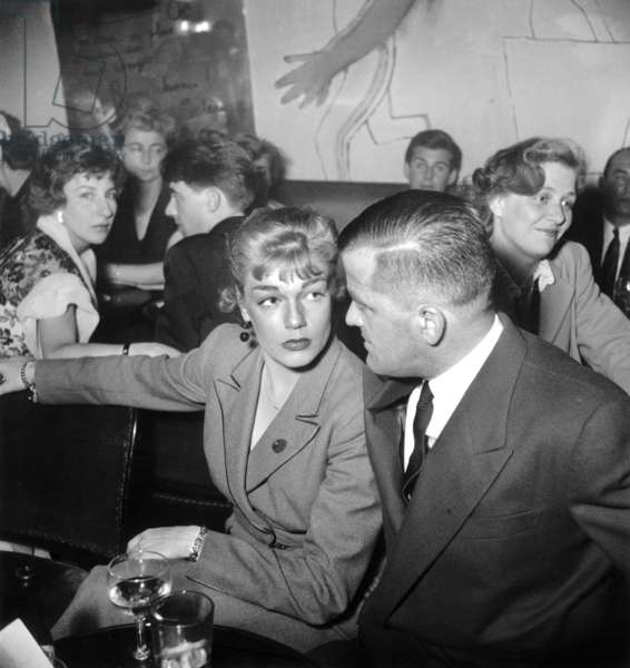 "Simone Signoret and her Husband Yves Allegret during Party at The ""Boeuf Sur Le Toit"" Jne 22, 1949 (b/w photo)"